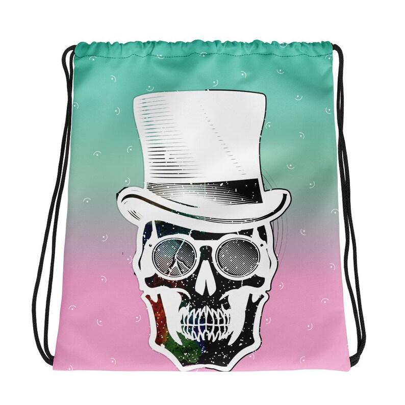 Frosty Steampunk Skull Drawstring bag