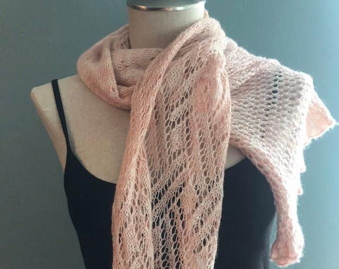 pink silk/alpaca beaded handknit scarf