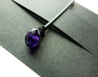 Amethyst Faceted Rondelle Bobby Pin - 8mm - Gemstone Bobby Pin - 1 Pair