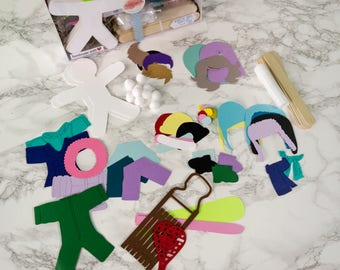 Paper Puppet Doll Craft Kit Winter Fun Gift for Kids Set of 6 Snow Shoeing, Skiing, Toboggan, Snow Boarding, Snow Ball Fight