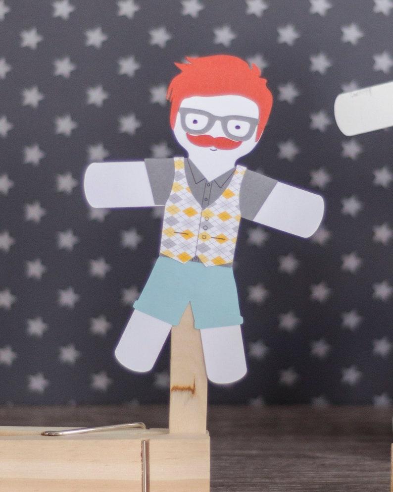 Kids Craft Kits paper puppet Hipster dolls image 0