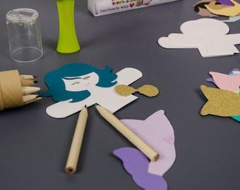 Mermaid Puppet Kids Craft Kit Birthday Gift Set of 12