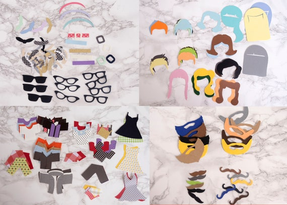 Paper Rockabilly Doll Puppet Craft Kits for Kids and Adults Birthday Party sized Set