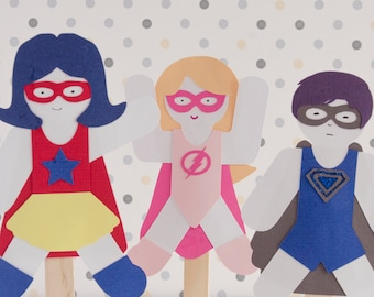 Party Favor Superhero Paper Doll Puppet Craft Kits set of 6 Puppets