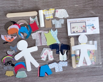 Set of 6 Hipster style paper puppet dolls - Craft Kits for Kids