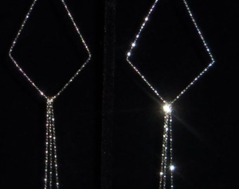 Sterling Silver Diamond Cut Long Triangle Earrings, Long Dangle Earrings, 6 Inches Long