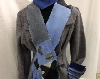 100% Blue & Gray Cashmere Scarf