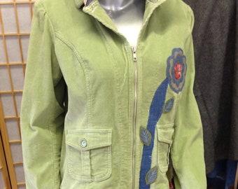 Ladies extra-large upcycled green corduroy jacket