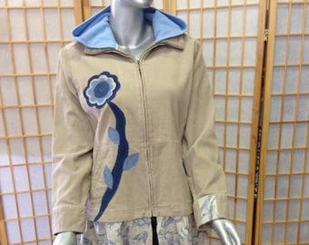 Ladies large upcycled tan corduroy jacket