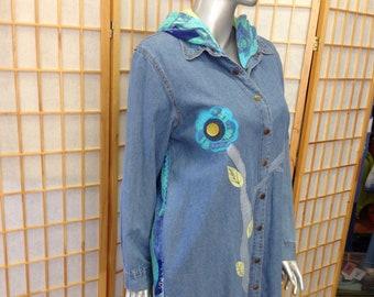 Ladies 2Xlarge upcycled denim jacket