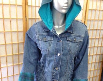 One of a kind XLG  ladies denim and wool upcycled jacket