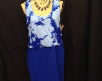 One of a kind Large ladies ecofriendly upcycled die dye tank tunic