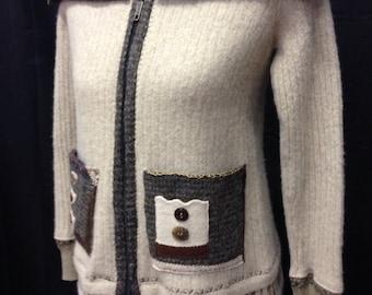 ladies small upcycled Alpaca wool sweater