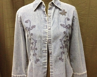 Ladies small Denim and wool upcycled cardigan