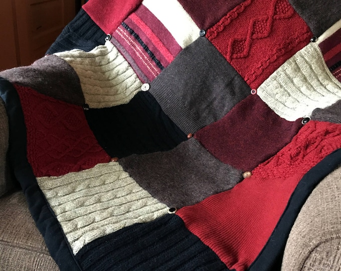 "My ""Charcoal Fire"" Wool Sweater Quilt"