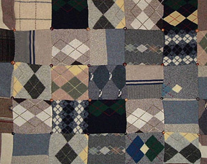 """My """"Argyle Nation"""" Wool Sweater Quilt — I can make one similar for you!"""