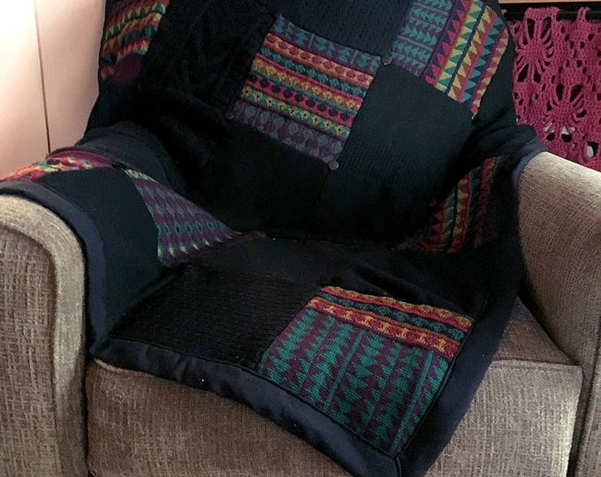 "My ""Black with Patterns"" Wool Sweater Quilt — I can make one similar for you!"