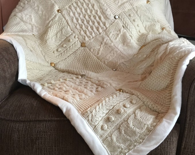 "My ""Simply Elegant"" Wool Sweater Quilt — I can make one similar for you!"