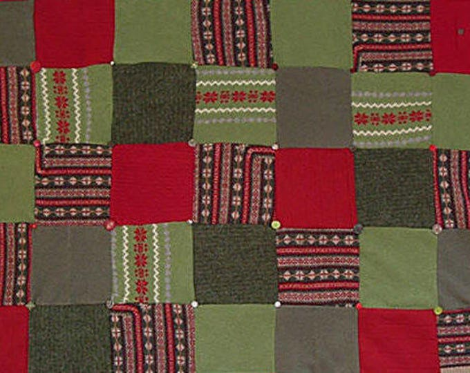 """My """"Hot Peppers!"""" Wool Sweater Quilt — I can make one similar for you!"""
