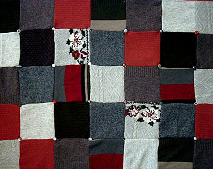 """My """"Silver Rose"""" Wool Sweater Quilt — I can make one similar for you!"""