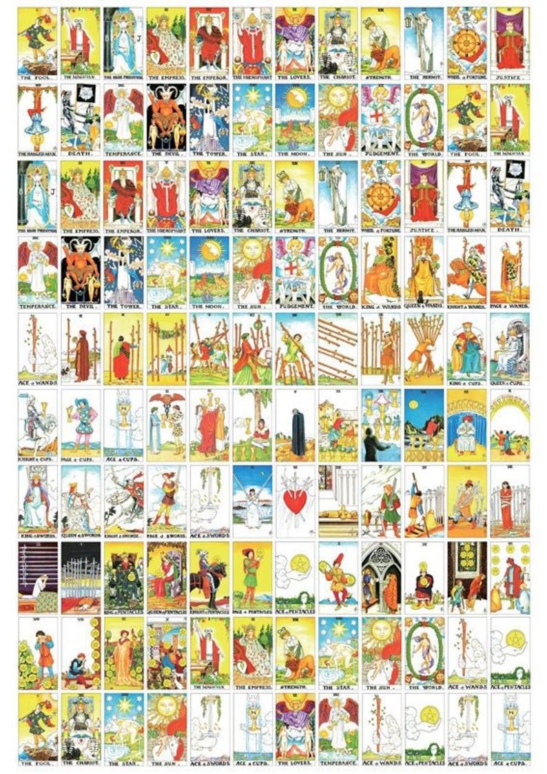 picture relating to Free Printable Tarot Cards Pdf called PDF -Very little sizing / Printable, Coloured tarot decks Quick Obtain