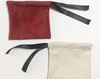 Suede ribbon jewelry pouch -10set