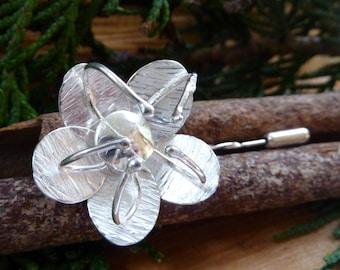 Passion flower brooch: Handmade Sterling silver