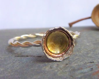 Twisted silver wire statement ring with sterling silver, copper and brass dome autumn acorn cup