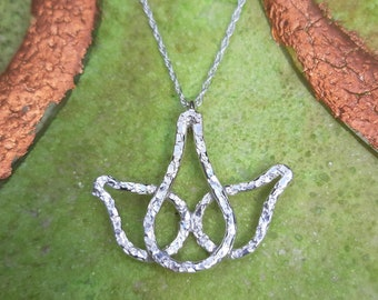 Lotus flower pendant: Handmade, sterling silver