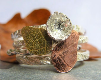 Autumn Leaves Stacking Rings:  Handmade Sterling Silver, Copper and Brass stackable statement ring set (4 rings)