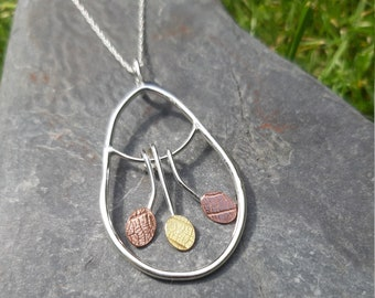 Leaf-textured, leaf-shaped silver wire necklace : Handmade, sterling silver, copper and brass