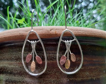 Leaf-textured, leaf-shaped silver wire drop earrings : Handmade, sterling silver, copper and brass