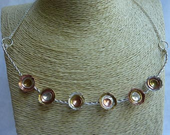 Twisted wire necklace with sterling silver, copper and brass dome cups