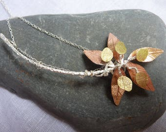Autumn Leaves Necklace:  Handmade Sterling Silver, Copper and Brass