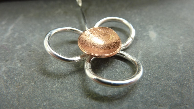 Daisy flower pendant: Handmade sterling silver and copper image 0