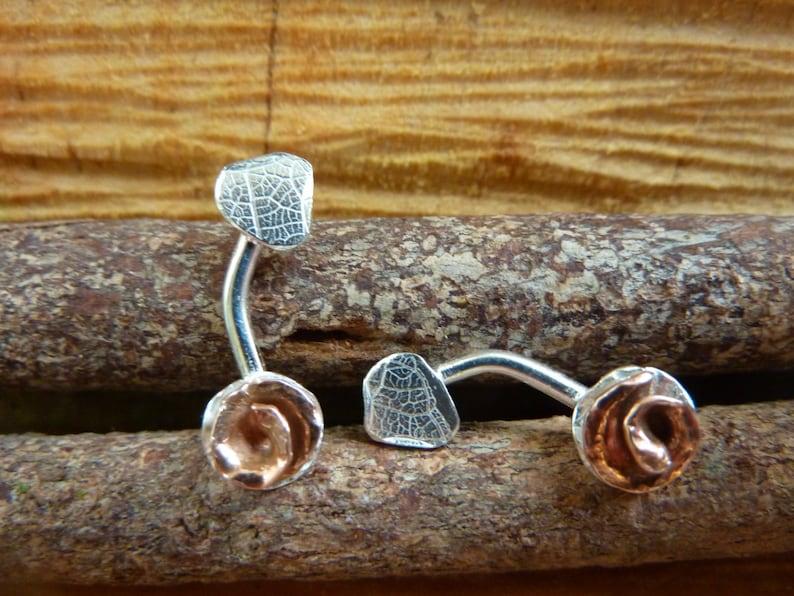 Copper rose and sterling silver leaf stud ear crawler image 0