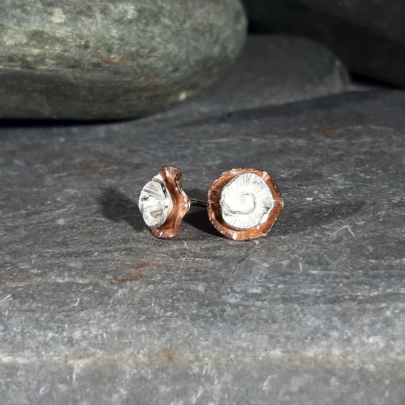 Silver Rose and Copper Stud earrings: Handmade image 0