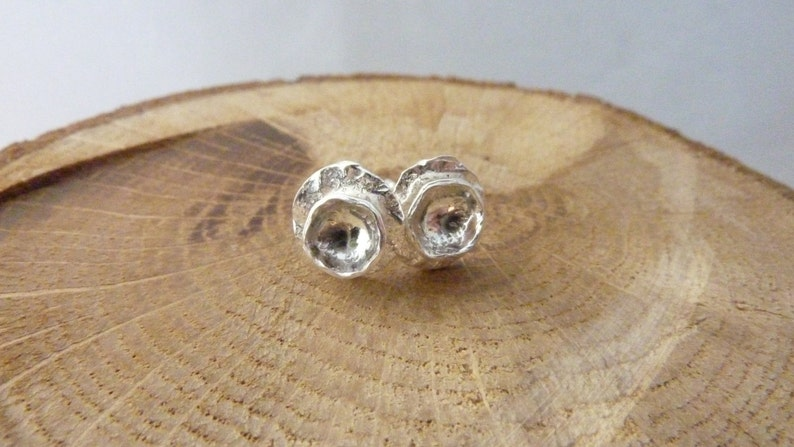 Dome lily pad stud earrings: Handmade sterling silver image 0