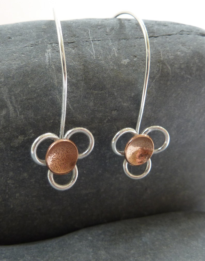 Daisy flower drop earrings: Handmade sterling silver and image 0
