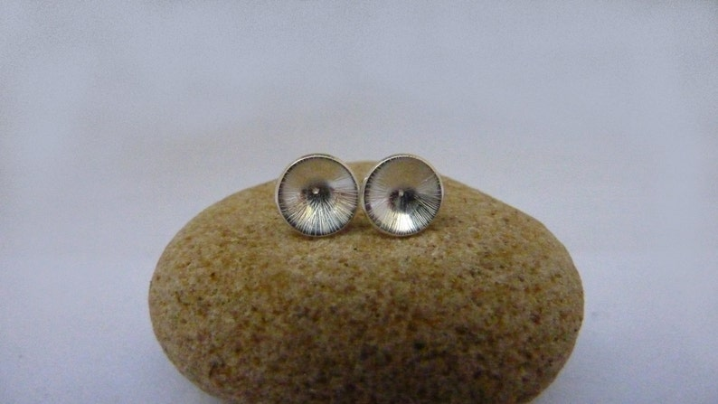 Textured dome cup stud earrings: Handmade sterling silver image 0