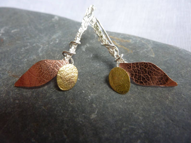 Autumn Leaves Earrings: Handmade Sterling Silver Copper and image 0
