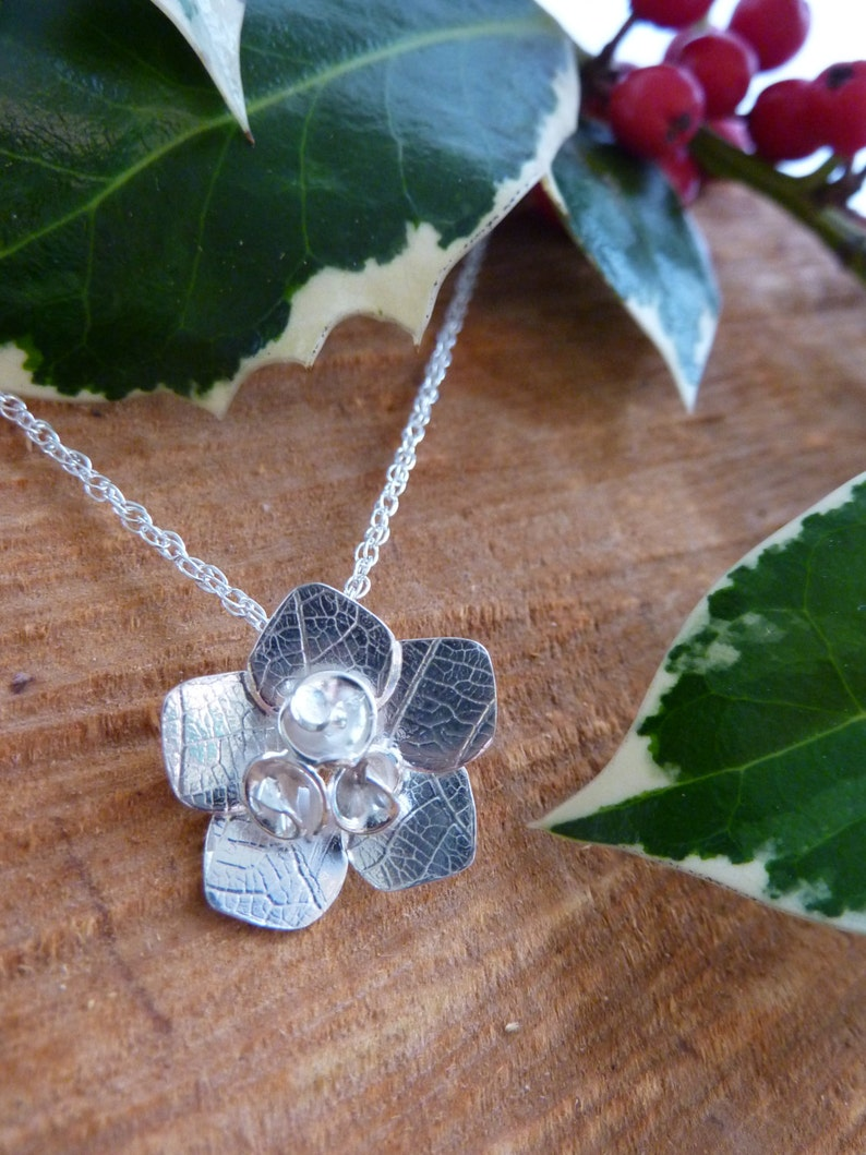 Rose flower pendant with leaf texture: Handmade sterling image 0
