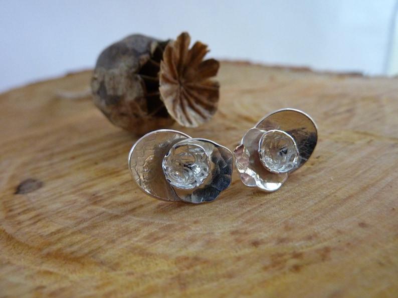 Poppy flower stud earrings: Handmade sterling silver image 0