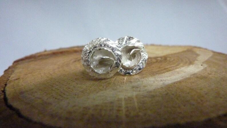 Rose lily pad flower stud earrings: Handmade sterling silver image 0