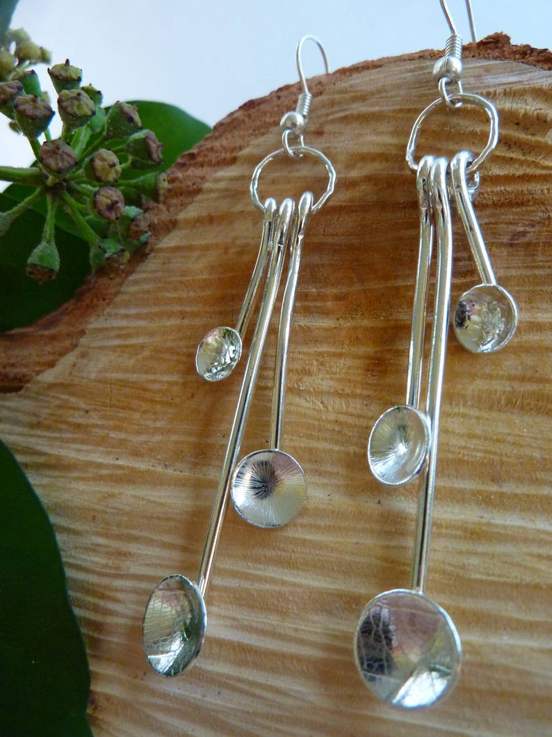 Textured dome cup drop earrings: Handmade sterling silver image 0