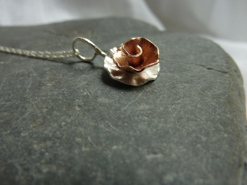 Peony Rose flower pendant: Handmade sterling silver and copper image 0