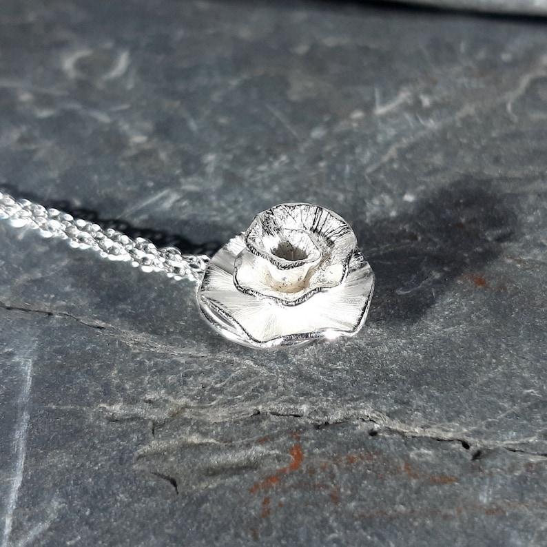 Peony Rose flower pendant: Handmade sterling silver image 0
