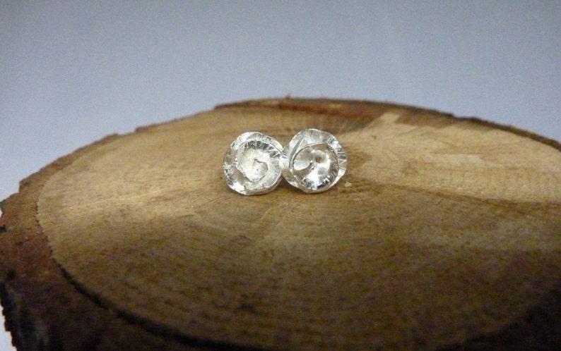 Peony Rose flower stud earrings: Handmade sterling silver image 0