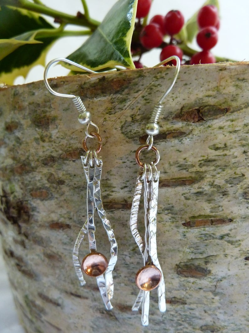 Textured silver wave & copper dome earrings : Handmade image 0