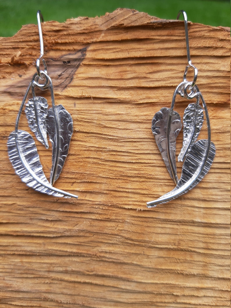 Textured leaf-shaped silver drop earrings : Handmade image 0